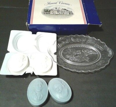 Avon vintage Bicentennial Plate 1776-1976 clear glass w/soaps Collectible