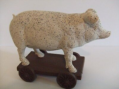 "Pig Statue on a Wagon w/ Stationary Wheels 8""WX6.25""T ""Country Decor"""