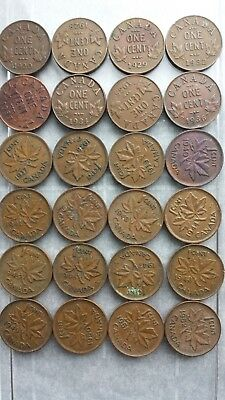 1920 to 1952 KING GEORGE V and VI  1 cent CANADA lot of common cents = 24 lot C