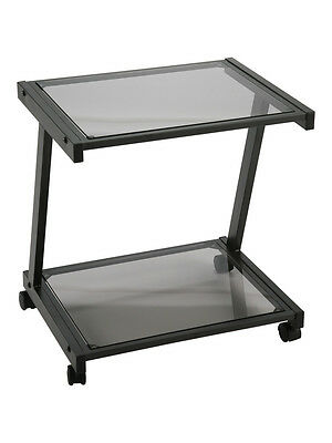 New Black Metal & Black Glass Mobile Computer Printer Cart on Wheels RTA 2 Tiers