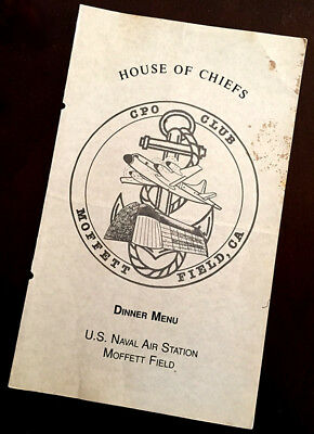 Vintage DINNER MENU House Of Chiefs CPO Club MOFFETT FIELD Naval Air Station