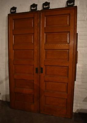 Antique Pair Oak Raised Panel Pocket Doors
