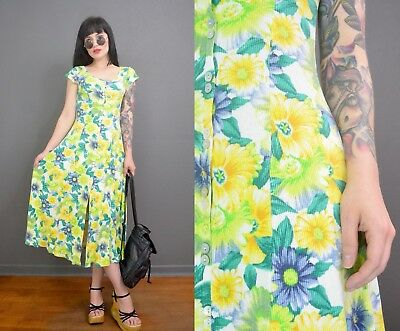 c731f3d24248f vintage 90s Teal Yellow Blue Floral Maxi Dress Ribbed Boho Hippie Romantic  Small