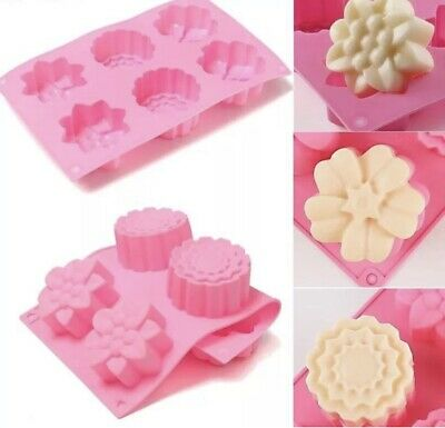 6 Cavity Flower Pink Silicone Cake Cookie Chocolate Handmade Soap Candle Mould