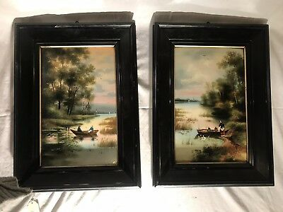 Pair Antique German Hand Painted Porcelain Plaques framed