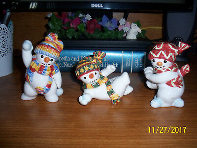"Fitz & Floyd ""The Flurries"" Snowman Tumblers Figurines"