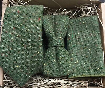 Moss Green Mens Tie / Bow Tie and Pocket Square / Olive Green Tie / Wedding Ties
