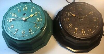 Pair Of Telechron Bakelite Antique Clocks Brown Green Model M1 Both Work Great