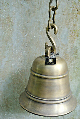 Nautical Front Door ship school Bell chain solid brass old style heavy hang 17cm
