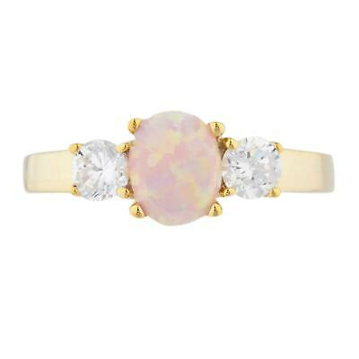 Pink Opal & Zirconia Oval Ring 14Kt Yellow Gold Rose Gold Silver