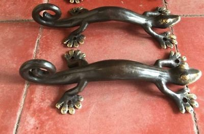 2 small GECKO solid brass door antique old style PULLS handle 22 cm long knobs B