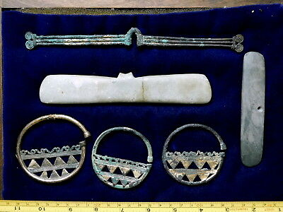 6 tairona pre-columbian earrings nose rings stone pendants pectorals copper gold