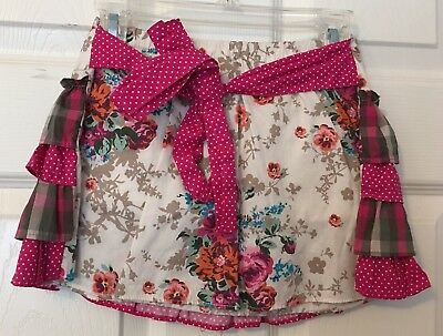 VINTAGE COUTURE TODDLER GIRL RETRO SKIRT FLORAL WITH RUFFLES & SHORTS Size 3T