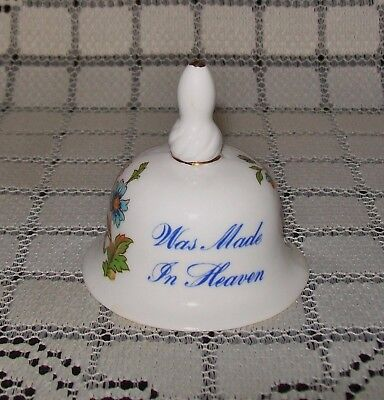SMALL VINTAGE CERAMIC BELL: 'Our Love Was Made in Heaven' butterflies 6.5cm