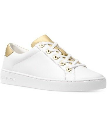 f9d0e0eed535 NIB - MICHAEL Kors Women s Irving Sneakers Lace-Up White Gold Size ...