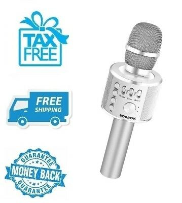 *New* Silver Wireless Bluetooth Karaoke Microphone Portable Home Party Music Mic