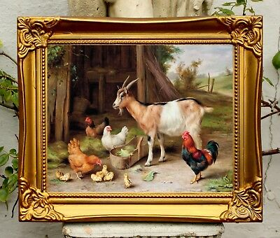 Fine Oleograph on Canvas of a Chickens & a Goat aft. Edgar Hunt