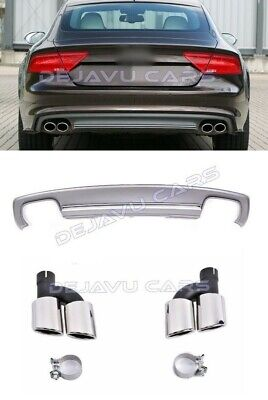 For Audi A7 4G 10-14 Rear Bumper Valance Diffuser/&Exhaust Tips S7 Facelift Desig