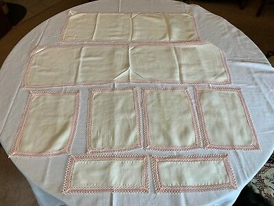 Antique Vtg Natural Linen Crocheted Edges 2 Table Runners 4 Placemats 2 Doilies