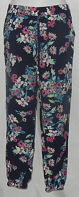 Candie's Women's Size S Blue Flower Garden Lounge Night Pants Fitted Ankle