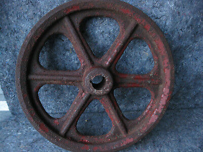 "Vintage Cast Iron Wheel "" V "" Belt Pulley 2 Groove Pulley"
