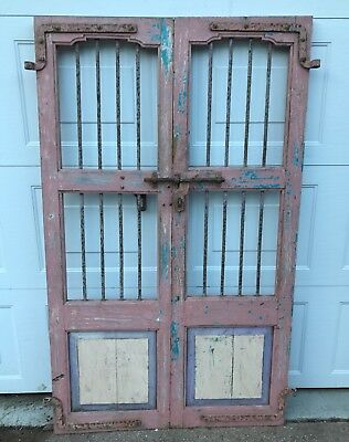 Antique Pair Wood & Cast Iron Favela Alley Doors From India EXC Perfect Patina!