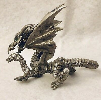 Rawcliffe Pewter Dragon with Green Crystal Eyes 4in Signed RF 3837