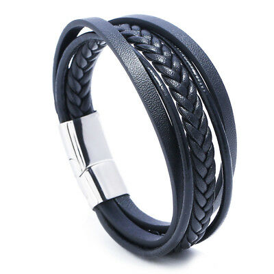 Men Black Braided Leather Bracelet Wristband Stainless Steel Magnetic Clasp