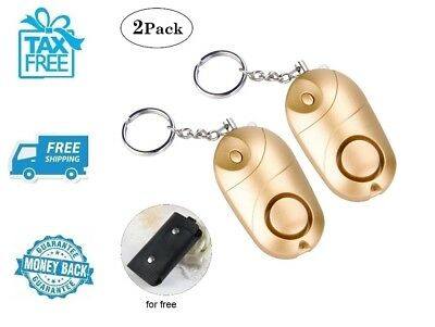 *New* 2pc Gold Personal Alarm Self Defense Emergency Security LED Light No Tax