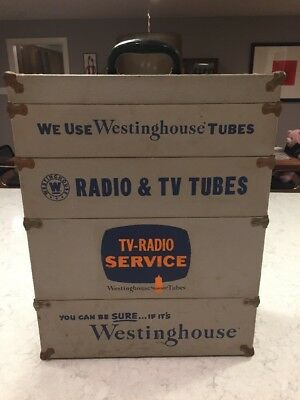 RARE 5 Level Westinghouse Vintage Radio Tube Repairman Caddy TV Repair Case Box