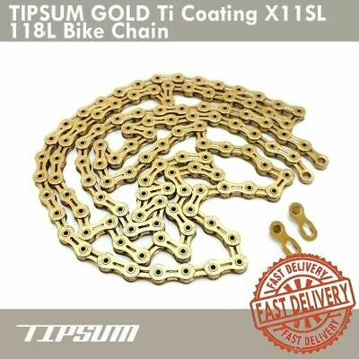 TIPSUM Ti Coating X11SL 118L Chain GOLD Compatible with Shimano SRAM CAMPY KMC