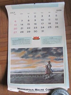 1958 Advertising Calendar Minneapolis Moline Farm Equip , Spanish Molina Campos