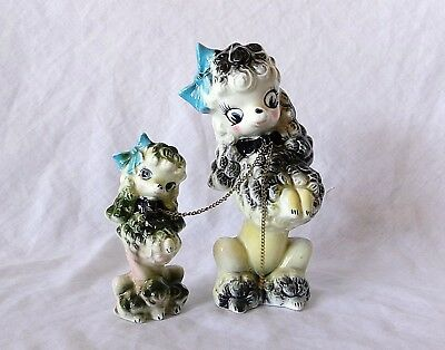 Brinnco Japan MOTHER POODLE & PUPPY ON CHAIN DOG FIGURINES