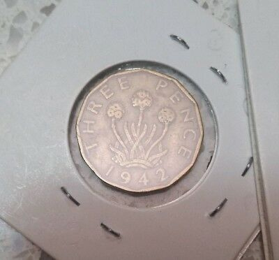 1942 English Three Pence~ Nice Rare coin.