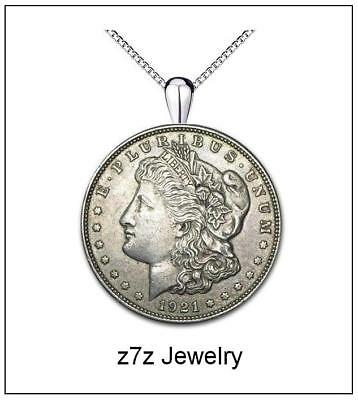 MORGAN DOLLAR Necklace - silver replica vintage coin medallion pendant z7qq
