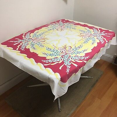 """VTG 1940s 1950s Printed Table Cloth 55.5"""" X 47"""" Cotton Floral Red Yellow Green"""