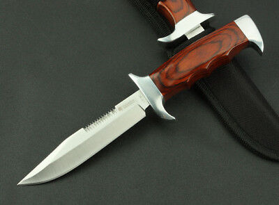8'' New Wood handle 440 Back Serrated Blade Survival Bowie Hunting Knife K313