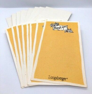 Longaberger Thank You Cards With Envelopes NEW NWOT Vintage Set Of 8 Yellow Note