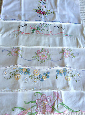 Lot of 5 Single Embroidered Floral Vintage Pillowcases