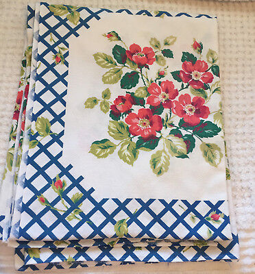 Vintage Tablecloth Floral with Blue Geometric 64 x 52