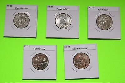 2013 S America The Beautiful Quarters(ATB) 5 Coin Set-Mint Bags-Free Shipping