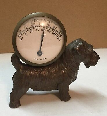 Vintage Terrier Cast Metal Dog And Thermometer