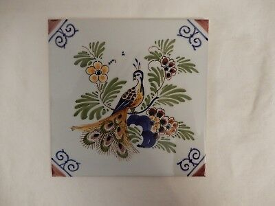 """Hand Painted Delft """"peacock""""  Tile - 5  7/8""""  Square"""