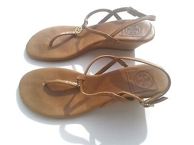 7f620a5c6 TORY BURCH Leather Brown Wedge Sandal T Thong Flat Slides Shoe Size 6