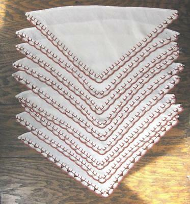 Vintage Lot 9 Linen Triangles Hand Crochet Bunting Edging Trim Napkins Craft TLC