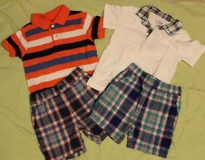 Children's Place Outfit LOT Boys 2T Plaid Shorts EUC TCP Short sleeve polo shirt