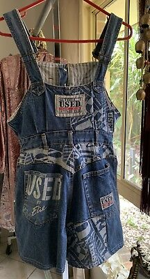 ♈️Vtg 90's Get Used by Elie Patched Thick Blue Denim Boho Indie Overalls Sz M♈️