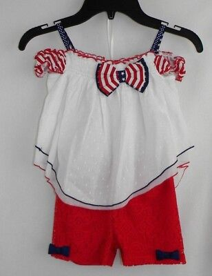 97bdf69146d Rare Editions 2PC Red White Blue Stars & Stripes Shorts Set Toddler Girl's  2T R
