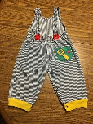 VTG Boys Size 6-9 Months Hopscotch Railroad Overalls With Wrench Pocket