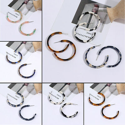Fashion Jewelry Women Tortoise Shell Hoop Earrings Acrylic Resin Round Circle